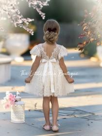 wedding photo - Flower girl dress, Bohemian Flower Girl Dress, rustic flower girl dress, boho flower girl dress, lace flower girl dress, boho wedding dress