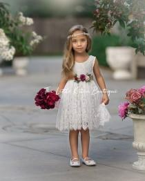 wedding photo - Flower girl dress, Flower Girl Dresses, rustic flower girl dress, boho flower girl dress, lace flower girl dress, Girls Dress, wedding dress