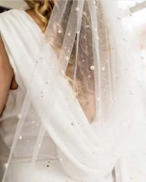 wedding photo - Silver or Gold Glitter Pearl Veil, Elbow, Fingertip, Waltz, Cathedral