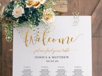 wedding photo - Gold Seating Chart, Wedding Seating Chart Template, Seating Chart Sign, Seating Chart Wedding, Seating Chart Printable, 18_S45G