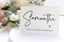 wedding photo - Custom Bridesmaid Thank You Card, Personalized Thank You For Being  My Bridesmaid Gift, Maid of Honor, Flower Girl Bridesmaid Gift Ideas, BT