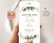 wedding photo - CLEO - Boho Save the Date Evite, Smartphone Electronic Invitation, Greenery Digital Template, Save Our Date Evite, Editable Instant Download