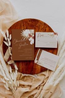 wedding photo - Boho wedding invitation template, terracotta wedding invites set, pampas grass wedding invitations, desert, dried palm burnt orange #135-5