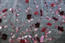 wedding photo - LS150/ 3D burgundy ribbon flower veil/ bridalveil/ bespokeveil/ 1 tierveil/ weddingveil/burgundyveil/customveil