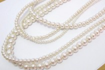 wedding photo - Long Pearl Necklace, Chunky Boho Pearl Necklace, Multi Layered Pearls, Five 5 Strand Necklace, Statement Necklace, White or Ivory Pearls
