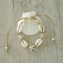 wedding photo - Cowrie Shell Jewelry, Cowrie shell & Star Fish Bracelet, Anklet or Choker Necklace for women