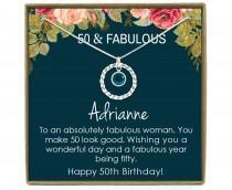 wedding photo - 50th Birthday Gift for Women, 50th Birthday Gift for her, 50th Birthday Gift for Woman, 50th Birthday Gift Idea, Sterling Silver