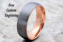 wedding photo - Tungsten Wedding Band, Men's Tungsten Wedding Band, Men's Tungsten Ring, Rose Gold Tungsten Ring, Tungsten Band, Personalized Engraving