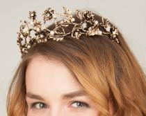 wedding photo - Vintage Bridal Crown with Patina. Bridal Jewellry in Baroque Style. A solemn Tiara for your inner princess or queen.