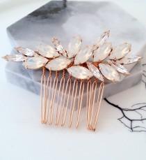 wedding photo - Bridal Hair Comb,White opal Hair Comb,Wedding Hair Accessory,Wedding headpiece,Crystal hair comb,Statement head piece,Gatsby Headpiece