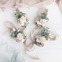 wedding photo - Flower wrist corsage, Sage green bridesmaids corsage, White flower bracelet, White flower wrist corsage, Rustic wedding