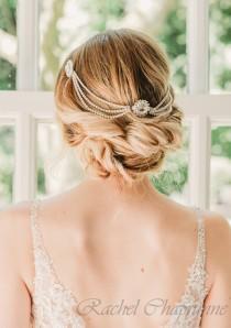 wedding photo - Hair chain for bride, Bridal hairpiece vintage, Wedding headpiece art deco, Bridal hair piece gatsby, Gatsby hair chain, Art Deco wedding