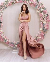 wedding photo - Rose Gold Silk Maxi Flared Dress Bridesmaid Gown