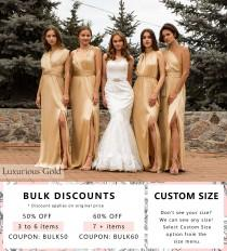 wedding photo - Silk Long Gold Dress • Sexy Satin Bridesmaid Transformer • Wedding Plus Size Wrap Dress • Luxurious Gift for Her • Multiway Prom Dress