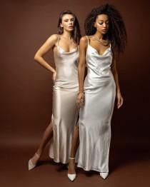 wedding photo - Dress wedding Champagne bridal dress Silk slip dress Bridesmaid dress White satin dress  Maxi beach dress White silk dress for women Gown
