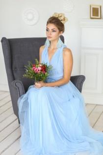 wedding photo - Baby blue bridesmaid dress, baby blue infinity dress, baby blue convertible dress, baby blue multiway dress, light blue infinity dress, blue