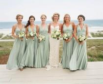 wedding photo - Sage green bridesmaid dresses Sage bridesmaid dresses Open back dress Boho bridesmaid dresses Infinity dress off shoulder Party wear dress