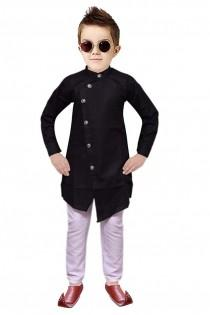 wedding photo - Indian Designer Angrakha style Cotton Traditional Kurta Pajama for kids Boys