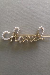 wedding photo - Crystal Pearl Hair Clip Rhinestone Gold Plated Minimalist Crystals Made for Her Letter Crystals