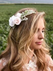 wedding photo - Blush flower crown. Pale pink and white flower crown. Blush wedding headpiece. Blush bridal crown. Blush hair flowers. Bridal hair flowers