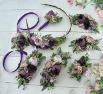 wedding photo - Purple floral hair piece Plum floral hair comb for bride Wedding hair piece floral Headpiece for bridesmaid Flower girl crown Floral Halo
