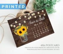 wedding photo - Rustic string lights calendar save the date postcard