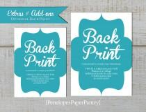 wedding photo - Custom Optional Back Print, Designed To Match, Add Color, Additional Design, Text, Photos or a Combination
