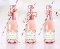wedding photo - Mini Bridal Shower Champagne Bottle Labels, Printable and Editable Mini Champagne Favor Label Template, Favors, Blus Pink Floral, VWC95