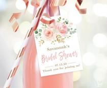 wedding photo - Bridal Shower Favor Tags, Printable Bridal Shower Favor Tag Template, Editable, Champagne or Wine Bottle Tags, Blush Pink Floral, VWC95