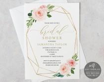 wedding photo - Bridal Shower Invitation, Printable Bridal Shower Invite  Editable Template, Instant Download, Geometric, Pink, Blush, Gold, Floral
