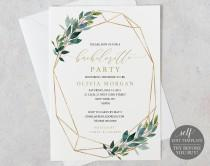 wedding photo - Bachelorette Party Invitation Template, Editable Instant Download, Greenery Geometric, TRY BEFORE You BUY