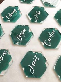 wedding photo - Acrylic Place Cards, Geometric Place Cards, Acrylic hexagon place cards, acrylic wedding decor, escort cards