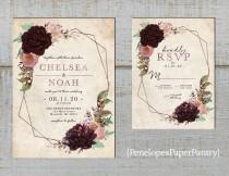 wedding photo - Elegant Rustic Geometric Frame Floral Fall Wedding Invitation,Burgundy,Dusty Rose,Blush,Roses,Rose Gold,Shimmery,Printed Invitation, or Set