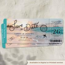 wedding photo - Beach Boarding Pass Save the Date in Matte Cardstock perfect for a Destination wedding, beach wedding, Travel theme Wedding, Printed/Digital