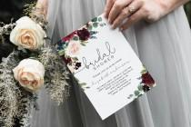 wedding photo - Blush Navy Bridal Shower Invitation, Floral Invitation Template, Instant Download, Edit with TEMPLETT, WLP-BUR 1049
