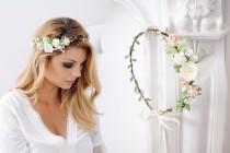 wedding photo - Bridal Flower Crown, Vintagre, Fairy Crown,Floral garland, Festival or Bridal Hair Wreath, Hair Flowers, Photo Shooting Hair band Headband