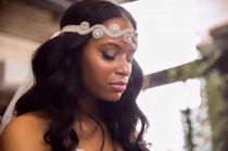wedding photo - Bridal Crystal Headband headpiece, 1920s GatsbyHeadband, Wedding Headband, Flapper headband Bridal rhinestone head piece, Bridesmaid gift