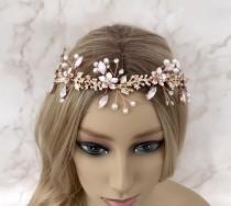 wedding photo - Rose gold vine, Blush pink hair piece, Floral hair vine, Bridal hair accessories, Wedding head piece, Brides wreath, Hair jewellery, Flower