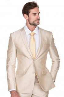 wedding photo - Porto Filo 2-Piece Textured Champagne Color Men's Slim Fit Wedding Suit