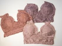 wedding photo - Floral Lace Crochet Bralette - Multi Color, Padded, Diamond Shape Smocked Back Bralette