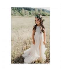 wedding photo - Ivory or Cream Boho Flower Girl Dress. Flowergirl Maxi Dress with crochet bodice and soft tulle bottom