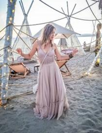 wedding photo - Nude Beige or Custom Color Boho Dress with Stretch Crochet Bodice and Soft Tulle Bottom. Boho Festival Dress. Boho Bridesmaid