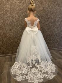 wedding photo - Flower girl dress train, Lace girl dress, Flower girl dress baby, Girl dress white, Flower girl dress classic, Flower girl dress tulle
