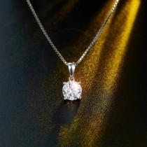 wedding photo - 1 Carat Moissanite Diamond Pendant Necklace - 925 Sterling Pendant Necklace - Single Solitaire Diamond Necklace - Come with Certificate.