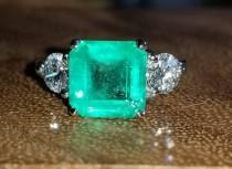 wedding photo - 14k white gold engagement three  stone ring natural green Colombia emerald ring  2.99 carat.