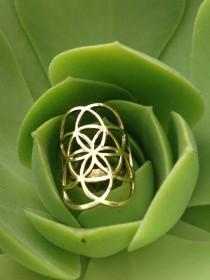 wedding photo - Flower of Life Ring • Seed of Life Ring • Sacred Geometry Ring Brass Ring  Galactivated
