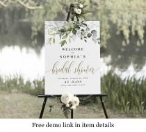 wedding photo - Portrait Bridal Shower Welcome Sign Template, Instant Download, Templett, Party, Reception, Brunch Poster, Decorations, Greenery Gold #c61