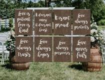 wedding photo - Wedding Aisle Signs, 1 Corinthians 13, Love Is Patient love is kind, Rustic Wedding, Ceremony Decor, Wedding Decor, Set of 8 10 12