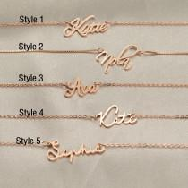 wedding photo - Personalized Name Necklace, Dainty Name Necklace, Tiny Name Necklace, Custom Name Jewelry, Bridesmaid Gift, Mother's Day Gift, Gift for Her