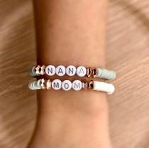 wedding photo - Mothers Day Custom Bracelet • Rose Gold Beads •Nana Bracelet• Grandma Bracelet• Custom Word Jewelry • Kids Names Bracelet • Grandchildren
